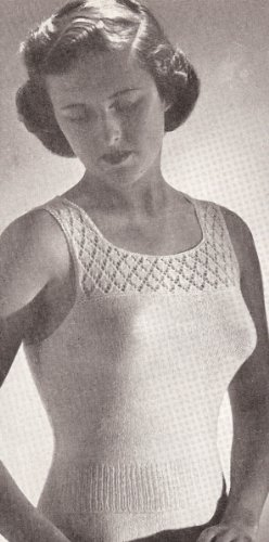 Vintage Knitting PATTERN to make - Knitted Camisole Under Shirt Vest Shell Top. NOT a finished item. This is a pattern and/or instructions to make the item only.