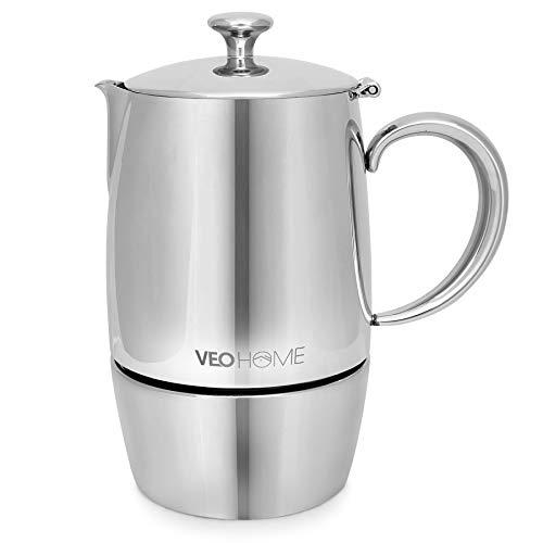 VeoHome – Cafetera Italiana de Acero Inoxidable 6 tazas 300 ml – Cafetera Moka Italiana para cocinas Inducción…
