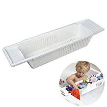 Henweit Bath Shower Caddy Shampoo Soap Toy Holder White Bathtub Rack Bathroom Shelves Plastic