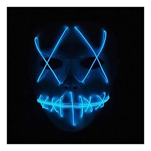 Halloween Mask LED-Light-Up Scary Purge-Movie EL-Wire Cosplay-Costume]()