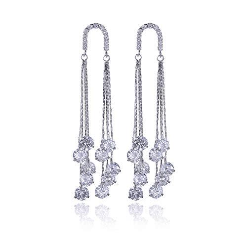 (Long CZ Chandelier Tassel Earrings - Women/Girl's Wedding Party Prom Jewelry Round Swarovski Crystal Cubic Zirconia Rhinestone Long Chain Strand Linear Dangle Drop Earrings Fashion Statement Earrings)