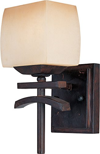 (Maxim 10996WSRC Asiana 1-Light Wall Sconce Bath Vanity, Roasted Chestnut Finish, Wilshire Glass, MB Incandescent Incandescent Bulb , 100W Max., Damp Safety Rating, Standard Dimmable, Glass Shade Material, 4600 Rated Lumens)