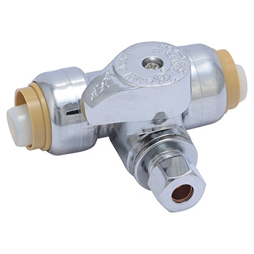 SharkBite 24983A Service Tee Stop Valve, 1/2 inch x 1/2 inch x 1/4 inch, Quarter Turn, Compression Service Stop Fitting, Water Valve Shut Off, Push-to-Connect, PEX, Copper, CPVC, PE-RT (World's Best Refrigerator Company)