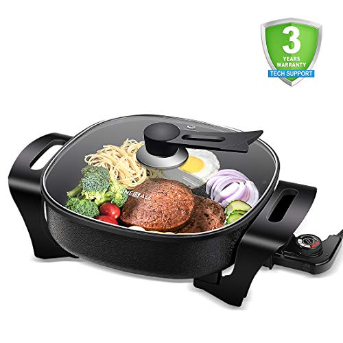 Best Prices! Electric Skillet Nonstick Electric Frying Pan with 3 Adjustable TEMP Control, ONEISALL Deep Electric Skillet 12 inch, Evenly Cooking Fast Heating, Family Size, Stay Cool Bottom and Handle, Stand-Up Tempered Glass Lid, 1360W