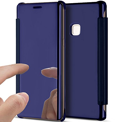 Price comparison product image Huawei P10 Lite Case,Huawei P10 Lite Cover,ikasus Ultra-Slim Luxury Shock-Absorption Clear View Flip Electroplate Plating Mirror Cover Flip Protective Case Cover for Huawei P10 Lite,Dark Blue