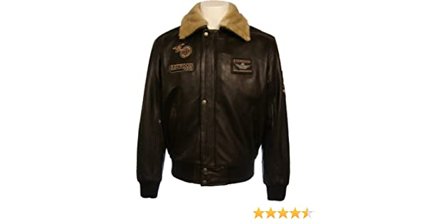 Mens 100% Real Leather Jacket Pilot Brown Hide:N4 at Amazon Mens Clothing store: Leather Outerwear Jackets