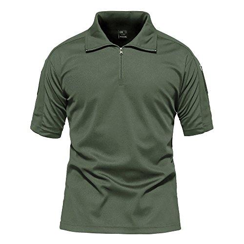 まだ第三侵略[MAGCOMSEN] メンズ Tシャツ ポロシャツ 半袖 吸汗速乾 耐摩耗 鹿の子 作業着 シャツ 登山 釣り 運動 アウトドア ファスナー ポケット付き