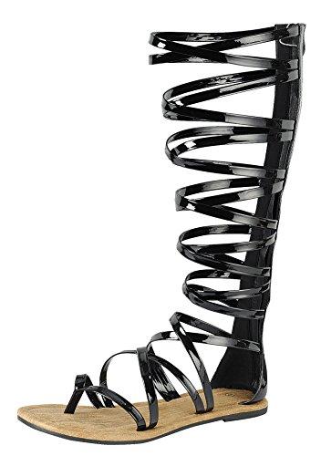 Cambridge Select Women's Open Toe Crisscross Strappy Flat Knee-High Gladiator Sandal (7 B(M) US, Black)