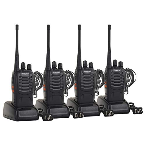 Funkprofi Rechargeable Walkie Talkies, 4 Pack Long Range UHF 400-470MHz 16 Channel Two Way Radio with Li-ion Battery, Charger and Earpiece (Discovery Kids Walkie Talkie Base Station Set)