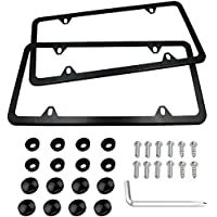 Indeed BUY Newest 2 Pcs 4 Holes Stainless Steel Black License Plate Frame,Car Licenses Plate Covers Holders Frames for…
