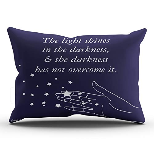 WULIHUA Throw Pillow Covers Navy Blue and White John 1:5 The Light Shines in The Darkness Lumbar Outdoor Cushion Cover Pillowcase Size 12x24 Inch One Sided Printed Chic Fashion Design