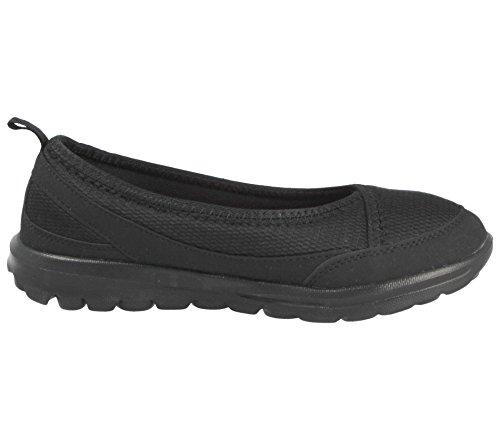 Pumps 3 Slip Size Flats Mesh Ballet Shoes 8 Comfort ELLA Foam Memory Flexi Trainers Go Black Ladies On Zqp0xHwn