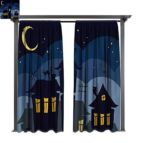 bybyhome Extra Long Outdoor Curtain Halloween Old Town with Cat on The Roof Night Sky Moon and Stars Houses Cartoon Art W84 xL108 Suitable for Front Porch,pergola,Cabana,Covered Patio