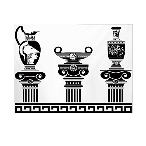 Toga Party Photography Background,Set of Hellenic Vases and Ionic Columns Artistic Design Amphora Antiquity Backdrop for Studio,15x10ft