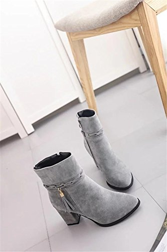 NVXIE Women's Ladies Tassel Short Boots Martin Boots Rough Mid Heel Shoes Pointed Toe Strappy Platform Suede Fall Winter Work Party GRAY-EUR37UK455 vVbqv6p