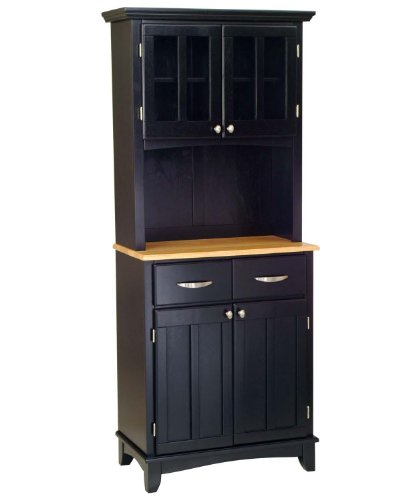 Cheap Black Server With Natural Wood Top And Two Door Hutch Small
