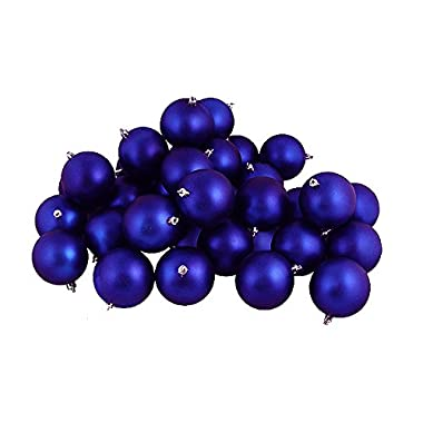 Northlight 31754335 60 Count Matte Royal Blue Shatterproof Christmas Ball Ornaments, 2.5