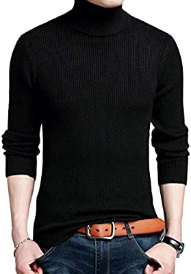 WSPLYSPJY Mens Knitted Slim Solid Color Long Sleeve Pullover Sweaters
