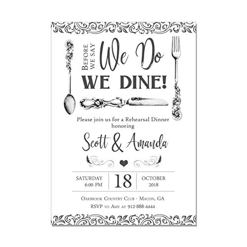 - Elegant Wedding Rehearsal Dinner Invitation with Silverware, Before we say We Do, We Dine, Base price is for a Set of 10 Invitations with white envelopes