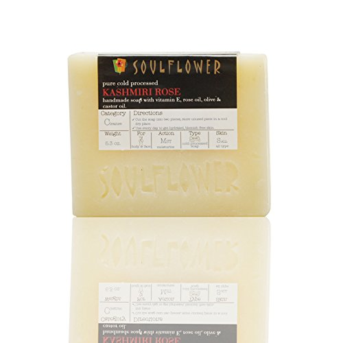 Soap Bar Kashmiri Rose by Soulflower Soap Cold processed Coldpressed Oil Essential Oil Soap for Blemish Free Skin Ayurvedic 5.3 oz, 2 Bars 100% Vegan Handmade