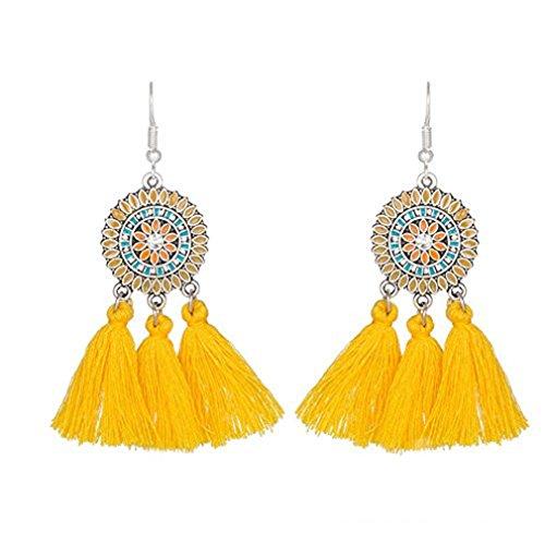 Vintage Yellow Earrings - SOURBAN Bohemian Fringe Earrings Colorful Vintage Ethnic Sunflower Tassel Dangle Earring Eardrop,Yellow