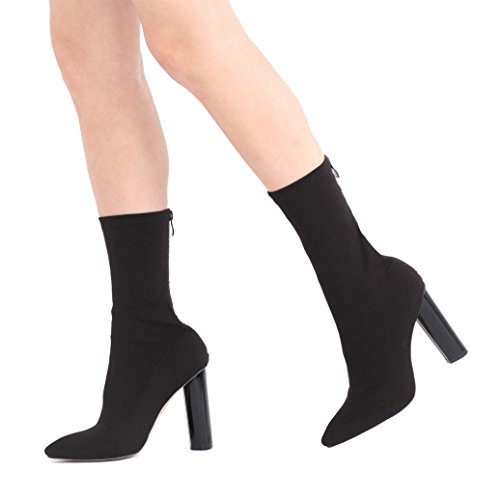 Public Desire Womens Cayden Heeled Sock Fit Boots Stretch High Shine Gloss Shoes Black Stretch UK 8/EU 41/US 10 from Public Desire