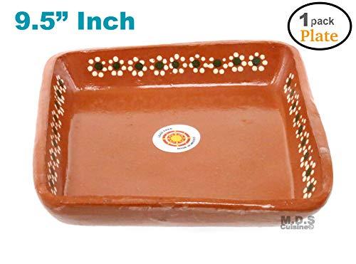 """Plato De Barro 9.5"""" inch Para Mole Mexican Square Plate Traditional Clay Lead Free Artisan Artezania (1 Plate)"""