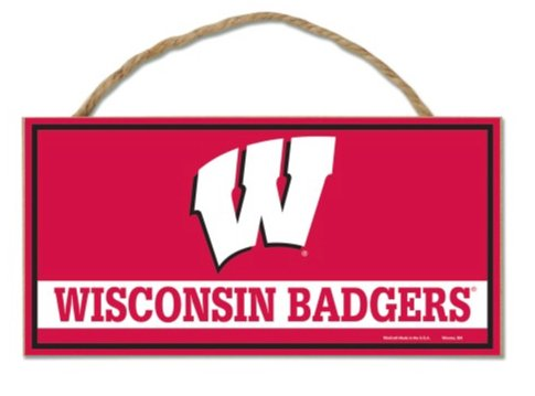 (NCAA University Wisconsin Badgers Hanging Wood Sign with Rope, 5