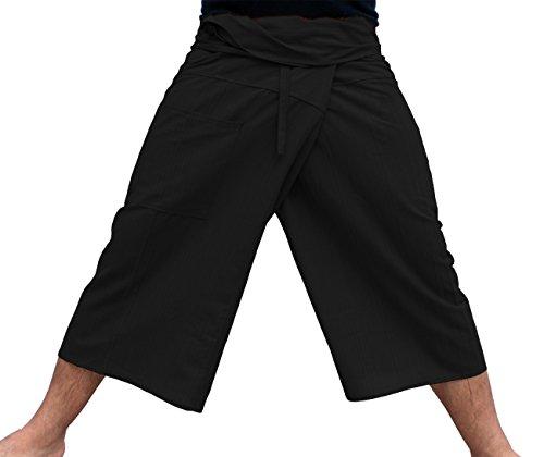 Raan Pah Muang Brand Thin Striped Cotton Thai Fisherman Capri Wrap Pants, Small, Black