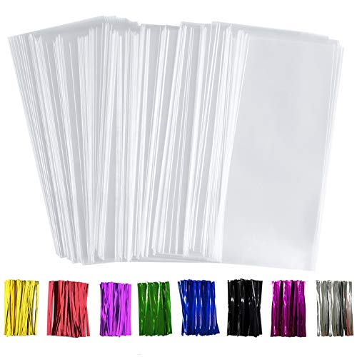 "Benail 300 Pack 4"" x 9"" Treat Bags Plastic OPP Bags with Gusset Bottom 1.4 mils Thickness Multi-purpose Coming With 300 Colorful Twist Ties"