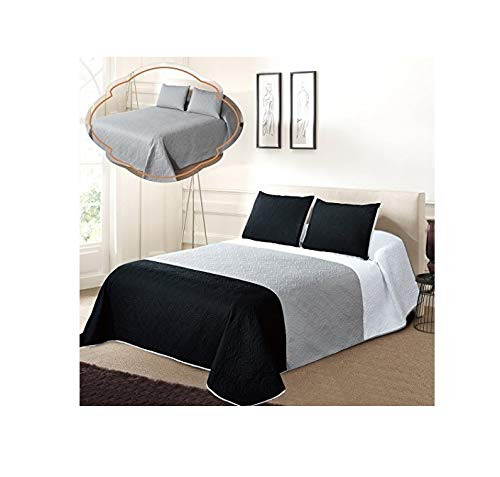 All American Collection New 3pc Solid Three Color Combination Reversible Bedspread Set (FULL / QUEEN, White/Grey/Black) (Bed White Black Spreads And)