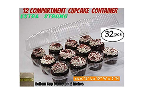 Cupcake and Muffin Containers with Superior Hinged Lid, Clear 12-Compartment, Strong and Sturdy, BPA Free, crystal Clear Plastic,( pack of 32) -
