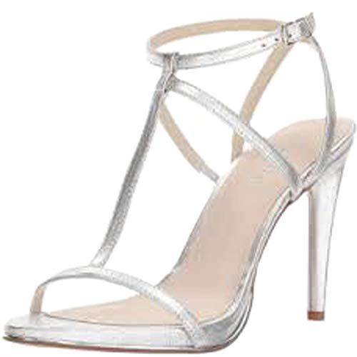 J. Adams Strappy High Heel Sandal, Silver PU, 7.5 B(M) US