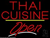 Thai Cuisine Script2 Open Yellow Line Clear Backing Neon Sign 24'' Tall x 31'' Wide