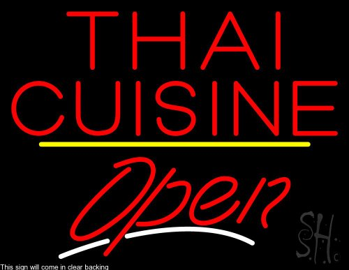 Thai Cuisine Script2 Open Yellow Line Clear Backing Neon Sign 24'' Tall x 31'' Wide by The Sign Store