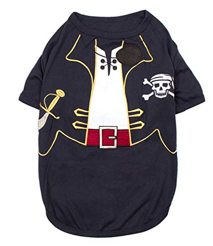 Parisian Pet - Funny Dog Cat Pet Costumes, Shirt Outfits for Halloween - Police, Prisoner, Ketchup, Mustard, Doctor, Firefighter, Sailor, Pirate (Captain Spawrrow - Pirate, ()