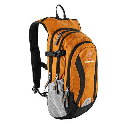 SHARKMOUTH Hiking Hydration Backpack Pack with 2.5L BPA Free Water Bladder, Roomy and Comfortable for Long Day Hikes, Day Trips, Daypack Travel and Journey, Orange