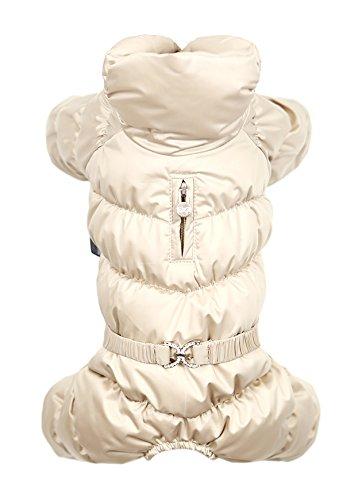 Beige XL Beige XL Puppy Angel Luxury Faux Down Jacket Padded Bodysuit, X-Large, Beige