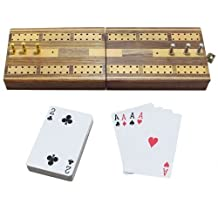 2 Track Folding Cribbage Board Wooden Travel Game with 6 Metal Pegs and 1 Playing Card Deck