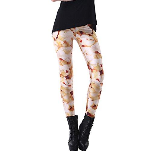 Joyhy Women's Plus Size Stretchy Digital 3D Printed Leggings Footless Tights Popcorn L233 ()