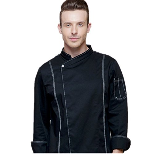 XINFU Long-Sleeved Breathable Cross Collar Single-Breasted Chef Jacket Chef Coat by XINFU