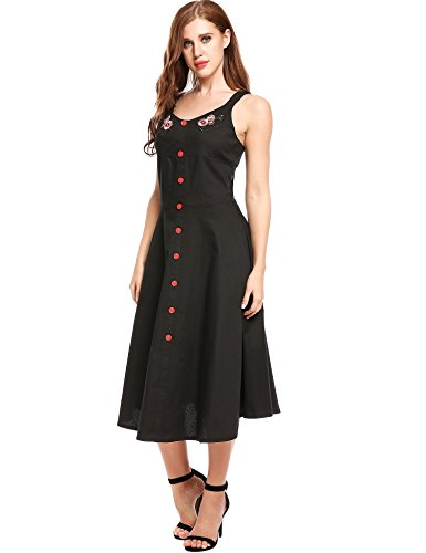 Women's Elegant Dress Sleeveless Vintage 1950s Swing ACEVOG Party B Cocktail Flared Black fSH6qqxd