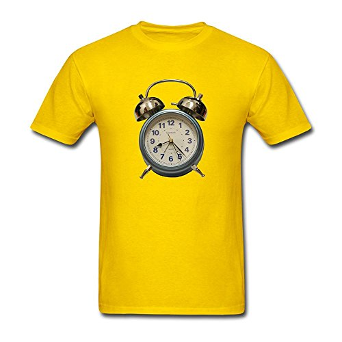 CYShirt Men's Clock Logo Short Sleeve T-Shirt Medium Yellow