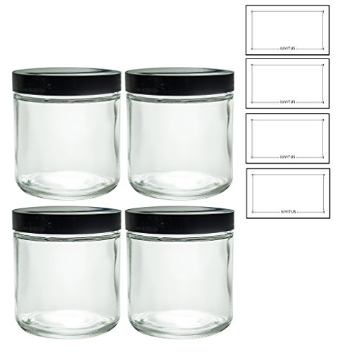 Straight Sided Glass (Large Clear Thick Glass Straight Sided Jar - 16 oz / 480 ml (4 pack) + Labels)