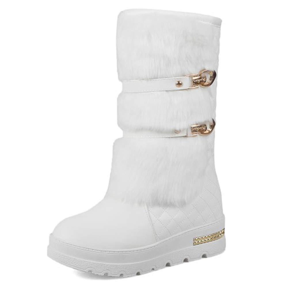 TWGDH Winter wasserdichte Mid-Calf Länge Länge Stiefel versteckte Wedges Warm schuhe Woman Platform Faux Fur Lined Outdoor Walk Schneeflocken