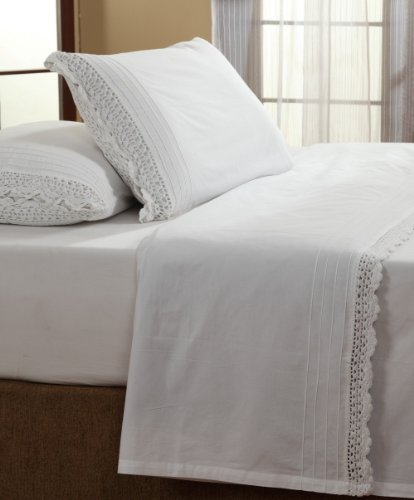 - Amity Home Simple White Crochet Twin Sheet Set