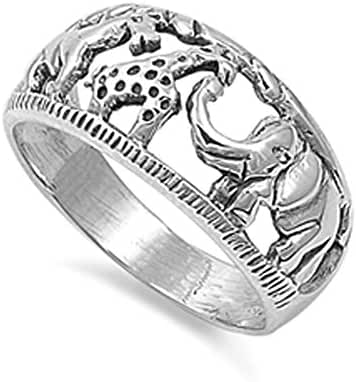 Sterling Silver Women's Elephant Giraffe Horse Ring Circus New Band Sizes 4-12
