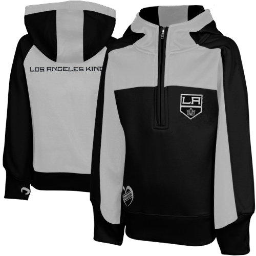 NHL Los Angeles Kings Big Girls Youth Active Half Zip Pullover Hoodie - Black / Grey