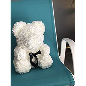 Rose Flower Bear - Fully Assembled 16 inch Hugz Teddy Bear - Over 20 Dozen Artificial Flowers - Best Gift for Mothers Day, Valentines Day, Anniversary, Bridal Showers (White) - w/Clear Gift Box 4