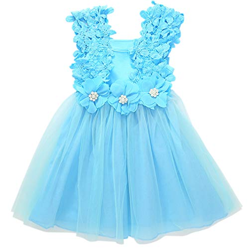 Niyage Baby Toddler Girls Tank Dress Princess Flower Crochet Lace Tulle Dresses 4T Blue ()